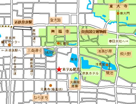 ホテル尾花の地図